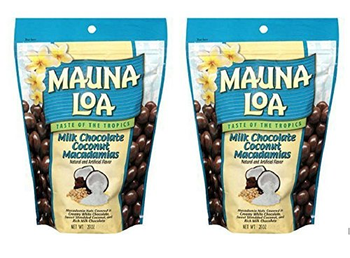 Mauna Loa Milk Chocolate Coconut Macadamias, 28-Ounce Package (2 Bags) (Mauna Loa Milk Chocolate Coconut Macadamia Nuts)
