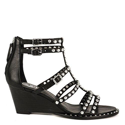 Ash Zapatos Nuba Sandalias de Cuero Mujer Negro