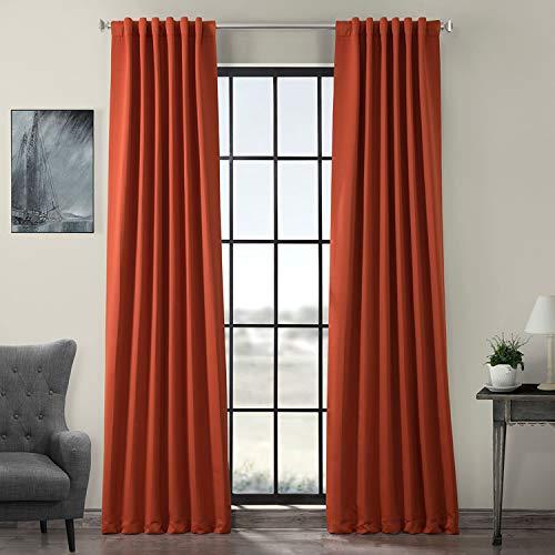 HPD HALF PRICE DRAPES BOCH-171125-96 Blackout Room Darkening Curtain, 50 X 96, Navajo Rust (Burnt Orange Curtains Blackout)