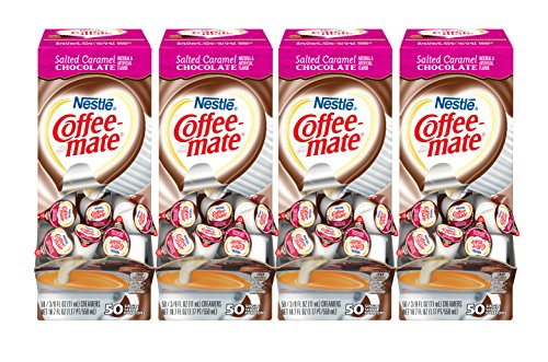 NESTLE COFFEE-MATE Coffee Creamer, Salted Caramel Chocolate, liquid creamer singles, 50 Count (Pack of 4)