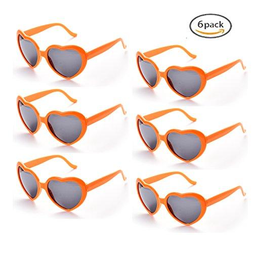 Neon Sol 6 Fiesta ONNEA de Naranja Forma Multicolor paquete Corazón Pares de Paquete 6 Colores pack 6 Gafas XzdrwxdIq