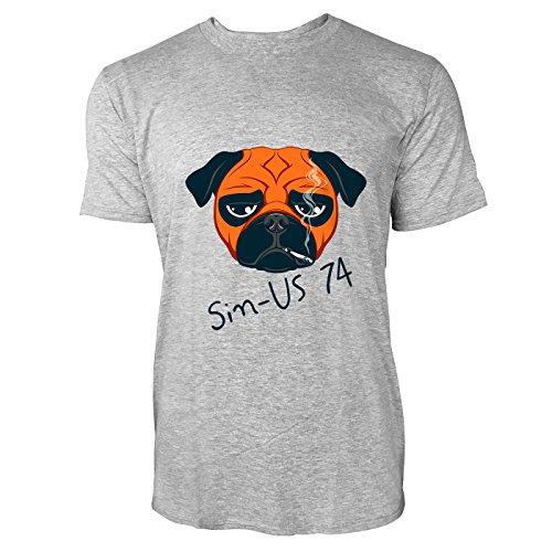 SINUS ART® Witzige Bulldogge mit Zigarette Herren T-Shirts in hellgrau Fun Shirt mit tollen Aufdruck