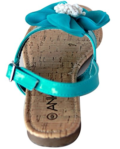 Anna Cap-7 Womens String Orteil Fleur Accent Verni Sandales Slingback Bleu