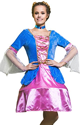Fairytale Themed Party Costumes (Adult Women Classic Fairy Tale Princess Fairy Costume Cosplay Role Play Dress Up (Small/Medium, Blue, Pink, Gold))