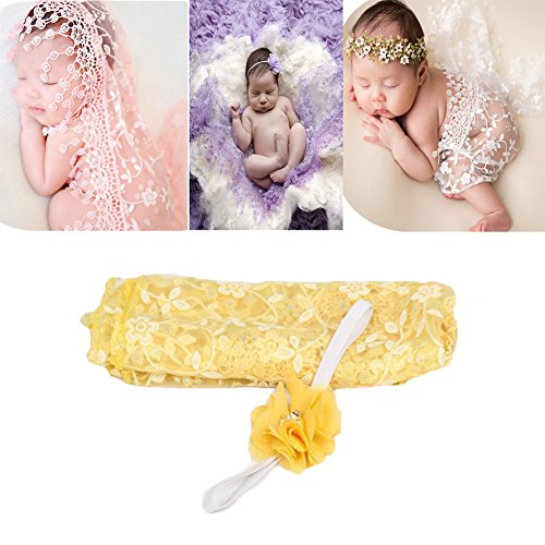 Coberllus Newborn Baby Photography Props Blanket Backdrop Lace Wrap Yarn Headband for Boy Girls Baby Photo (Drop Head Costume)