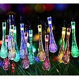 2 Pack Solar Strings Lights, Lemontec 20 Feet 30 LED Water Drop Solar Fairy Lights, Waterproof Lights for Garden...