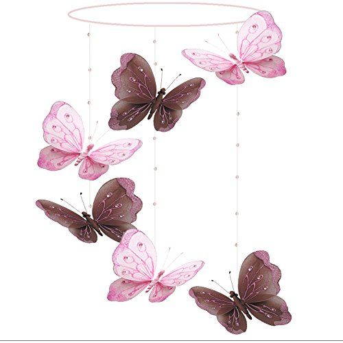 Butterfly Mobile Brown Pink Shimmer Spiral Nylon Mesh Butterflies Mobiles Decorations Decorate Baby Nursery Bedroom Girls Room Ceiling Decor Birthday Party Baby Shower Baby Crib Hanging Mobile 3D Art
