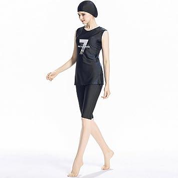 649a9037a9b ziyimaoyi Muslim Women Swimming Hijab Conservative Swimsuit Surfing Suits  Islamic Arab Swimwear Burqini (Black,