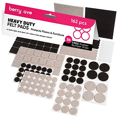 Furniture Pads: 162 Piece Variety Pack – Self Adhesive Felt Floor Protectors with Transparent Noise Bumpers - Chair Berry
