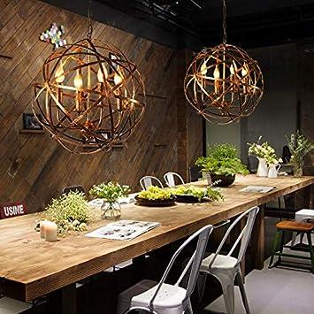 JinYuZe Retro Industrial Pendant Lighting,Metal Cross Orb Lamp,Suspended Metal Globe Candle-Style Chandelier,4-Light