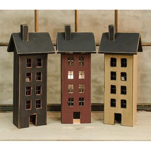 Heart of America Assorted Primitive Saltbox Houses - Set of 3