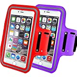 2Pack Premium Armband Compatible with iPhone X,XR,XS MAX 7 Plus/iPhone 8 Plus Running Armband with Fingerprint ID Access. Sports Phone Arm Case Holder, Jogging Gym Workouts Exercise-Purple+red