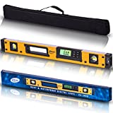 24-Inch Professional Digital Magnetic Level - IP54 Dust and Waterproof Electronic Level Tool - Get Master Precision with Shefio Smart Level 2 AA Batteries + Carrying Bag