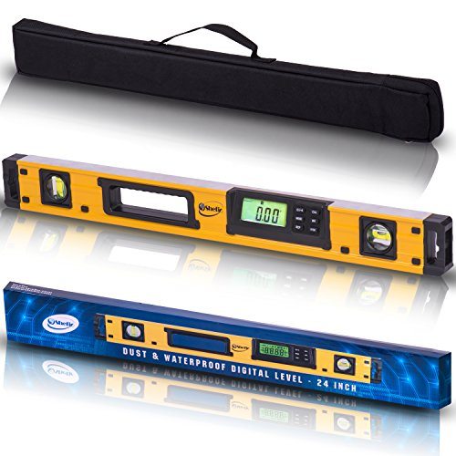 (24-Inch Professional Digital Magnetic Level - IP54 Dust and Waterproof Electronic Level Tool - Get Master Precision with Shefio Smart Level, 2 AA Batteries + Carrying Bag)