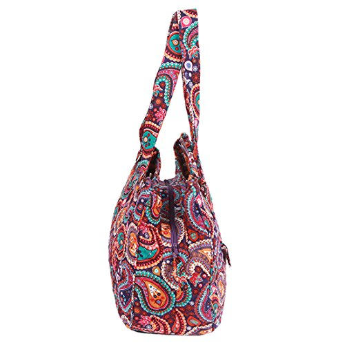 Purple Handle Bags Cotton Shoulder Bag Quilted Paisley PqYBxCw