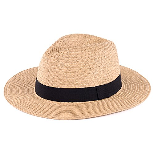 1950s Outfit Ideas (BYOS Summer Classic Straw Panama Fedora Sun Hat In Solid Color W/ Black Grosgrain Band Trim (Nature))