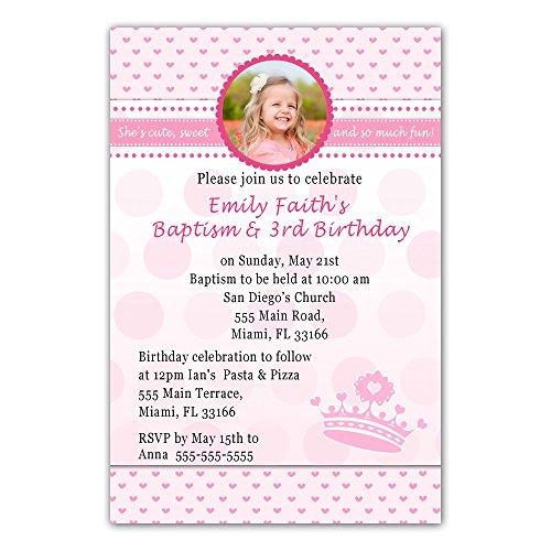 30 Invitations Princess Pink Hearts Invite Girl Birthday and Baptism Party Personalized Photo Cards + 30 White (1st Birthday Invitations Princess)