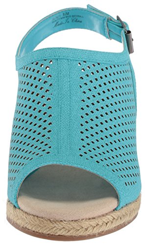 de Street Sandalia Stacy Mujer para Turquoise Print Easy cuña Linen FqRt4B