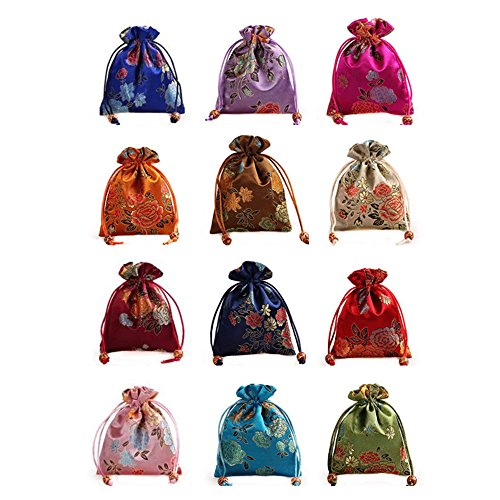 - 12Pcs/set Silk Brocade Jewelry Pouch Double layer Drawstring Coin Purse Gift Bag
