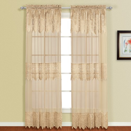 United Curtain Valerie Lace Sheer Window Curtain Panel, 52 by 63-Inch, Taupe ()