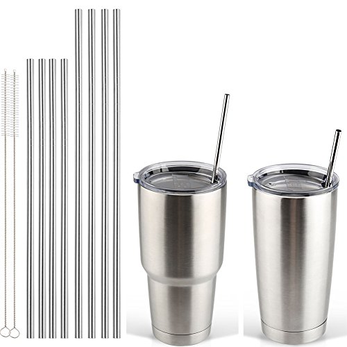 Accmor 18/8 Stainless Steel Straws, FDA-approved Reusable Metal Drinking Straight Straws Fits 20 30 Oz Yeti Tumbler Rambler Cup(8.5/10.5 in, OD:0.24 in, Set of 8 & 2 Cleaning Brush)