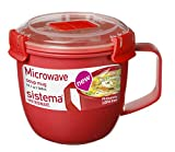 microwave reheat containers - Sistema 1142 Small Microwave Cookware Soup Mug, 19.1 oz, Red
