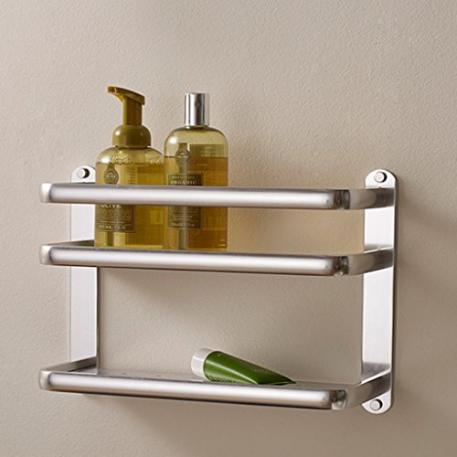 XY Soap dish Thick Space Aluminum Kitchen Shelf Wall Hanging Seasoning Rack Kitchen Supplies Storage Rack Double Pendant 2 Layer 27cm 40cm 13cm by XY Soap dish (Image #4)