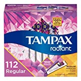 Tampax Radiant Plastic Tampons, Regular Absorbency, Unscented, 28 Count - Pack of 4 (112 Count Total) (Packaging May Vary)