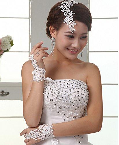 Pair of Korea Style Fashion Flower Lace False Diamond Short Bride Gloves Wedding Accessories