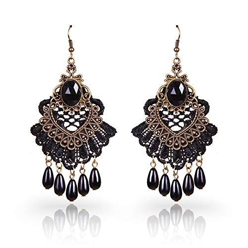 Lace Earrings - Retro Long Black Dangle Earrings- Gothic Vintage Chandelier Earrings - Droplet Lolita Rhinestone Alloy Earrings for Ladies and Girls