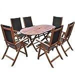 mewmewcat 7 Piece Acacia Outdoor Dining Set