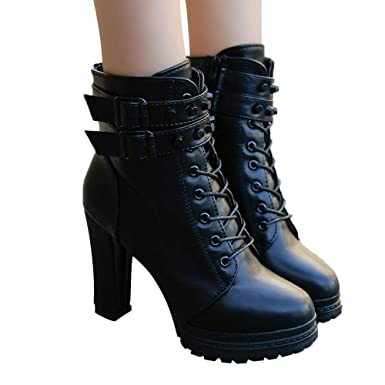 2de695550d58 Amazon.com  Outtop(TM) Womens High Heel Martain Boots Ladies Leather  Lace-Up Solid Color Round Toe Short Booties Shoes  Clothing