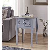 Grey Finish Checker Front Design Nightstand Side End Table with Drawer