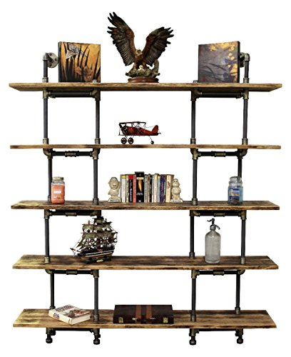 Eugene Modern Industrial 71-Inch Tall x 64-Inch Wide Large Storage 5-Shelf Pipe Bookcase Etagere Metal And Reclaimed Aged Finish With Sustainable Solid Wood (Natural Stained - Modern Eugene