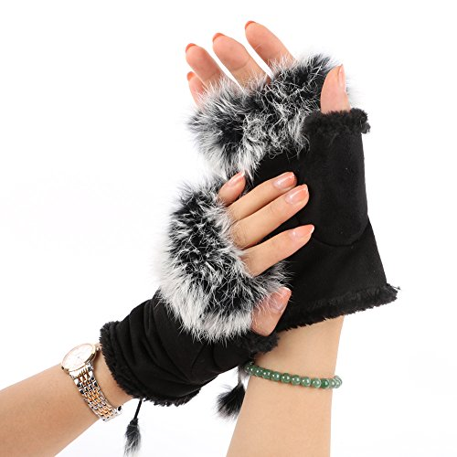 ROPALIA Womens Faux Rabbit Fur Hand Wrist Warmer Fingerless Gloves Winter Glove
