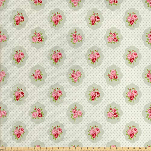 Lunarable Shabby Chic Fabric by The Yard, Polka Dotted Background with Romantic English Roses Love and Affection, Decorative Fabric for Upholstery and Home Accents, 2 Yards, Pale Green Rose Red