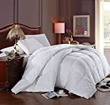 Soft, Light, Warm DOWN COMFORTER, 600 Fill Power, 100% Cotton Cover/Shell, 300 Threadcount, Solid White, OVERSIZED KING