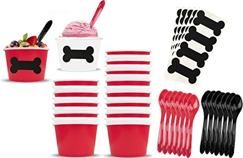 Dog Theme Ice Cream Set with 8 Ounce Paper Cups, Plastic Spoons, Dog Bone Chalkboard Labels 24 Each Red, Black and White by Outside The Box Papers]()