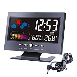Lomanda Digital Alarm Clock 5.5 Colorful Display Screen with Weather Forecast/Date/Indoor Humidity Temperature/Snooze/Charging Cable (Black/colorful, 5.5)