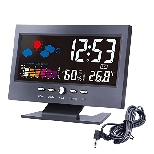 "Alarm Clock, Lomanda Digital Alarm Clock 5.5"" Colorful Display Screen with Weather Forecast/Date/Indoor Humidity Temperature/Snooze/Charging Cable(Black) (5 Function Digital Clock)"