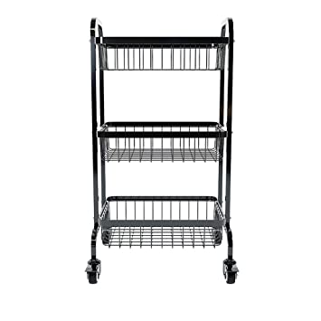 Amazon.com - HLWAWA 3-Tier Kitchen Cart with Wire Baskets ...