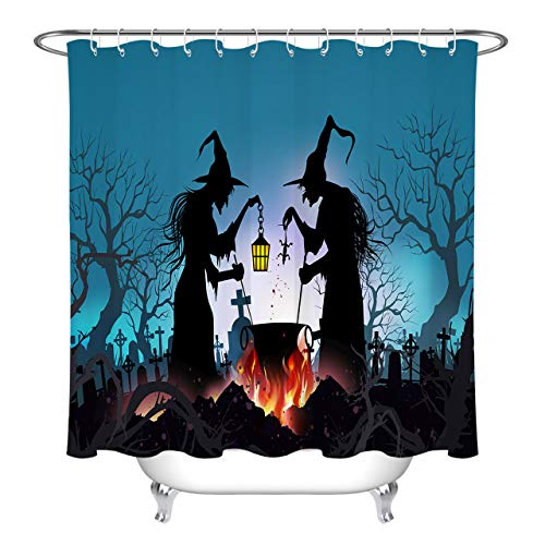 ETOB Happy Halloween Background Shower Curtain, Cemetery Old Witch and Dead Trees Shower Curtains for Bathroom Waterproof Polyester Fabric with 12 Hooks, 60x72 Inch ()