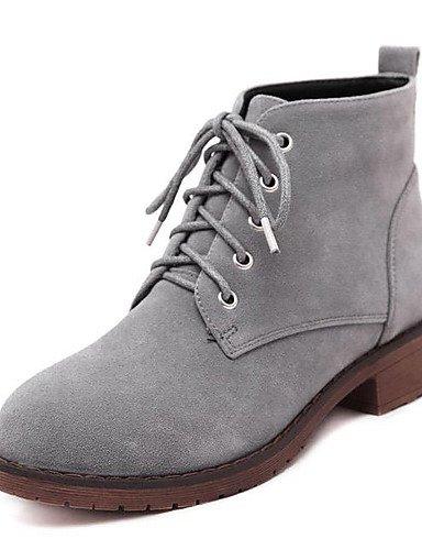 Noir-us5.5   eu36   uk3.5   cn35 XZZ  Chaussures Femme - Habillé - Noir   gris - Talon Bas - Talons   A Plateau   Bout Arrondi - Bottes - Laine synthétique