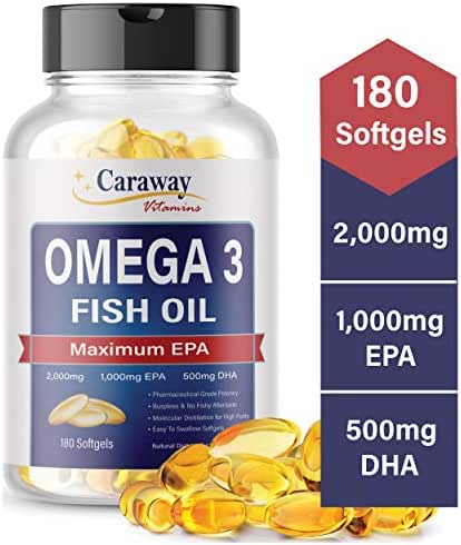 Omega 3 Fish Oil 2,000mg- Pharmaceutical Grade. 1000mg EPA 500mg DHA. Burpless Capsules with No Fishy Aftertaste. All Natural, Organic, Non GMO, Gluten Free for Men & Women.