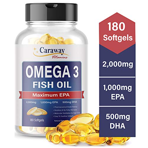 Omega 3 Fish Oil 2,000mg- Pharmaceutical Grade (180 Softgels). 1000mg EPA 500mg DHA. Burpless Capsules with No Fishy Aftertaste. All Natural, Organic, Non GMO, Gluten Free for Men & Women.