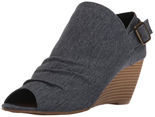 Sugar Women's Krennzy Open Toe Canvas Stacked Wedge with Buckle , Denim Tonal CAN,  6.5 M US