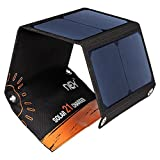 Solar Power Charger, NEX 21W Solar Panels with Dual USB Port Waterproof Foldable for Smartphones Tablets Flashlight and Camping Travel