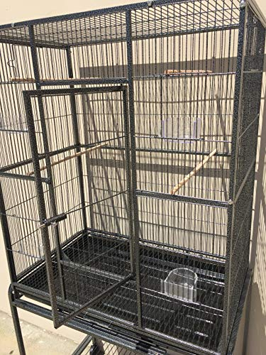 Mcage Large Wrought Iron Flight Canary Parakeet Cockatiel Lovebird Finch Cage with Removable Stand (32 L x 18 W x 64 H, Black Vein)