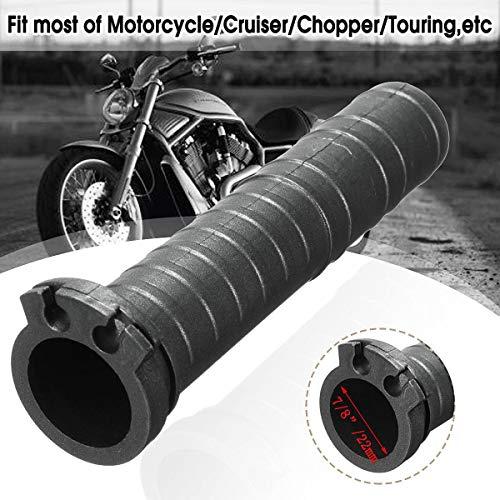 Iris-Shop - Universal 7/8 inch Black Handlebar Hand Grip Dual Cable Throttle Tube Motorcycle Cruiser Chopper Cafe