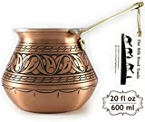 The Silk Road Trade - DC Series - Thickest Gorgeous Hammered Copper Turkish Greek Arabic Copper Coffee Pot/Coffee Maker Ibrik Briki with Cast Solid Bronze Handle-New Style 2018-20 fl oz-Engraved Matte